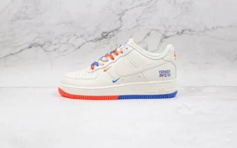 耐克Nike AIR FMRCE 1'07 SU19纯原版本低帮空军一号米白色蓝橙双小钩板鞋内置气垫 货号:CT1989-105