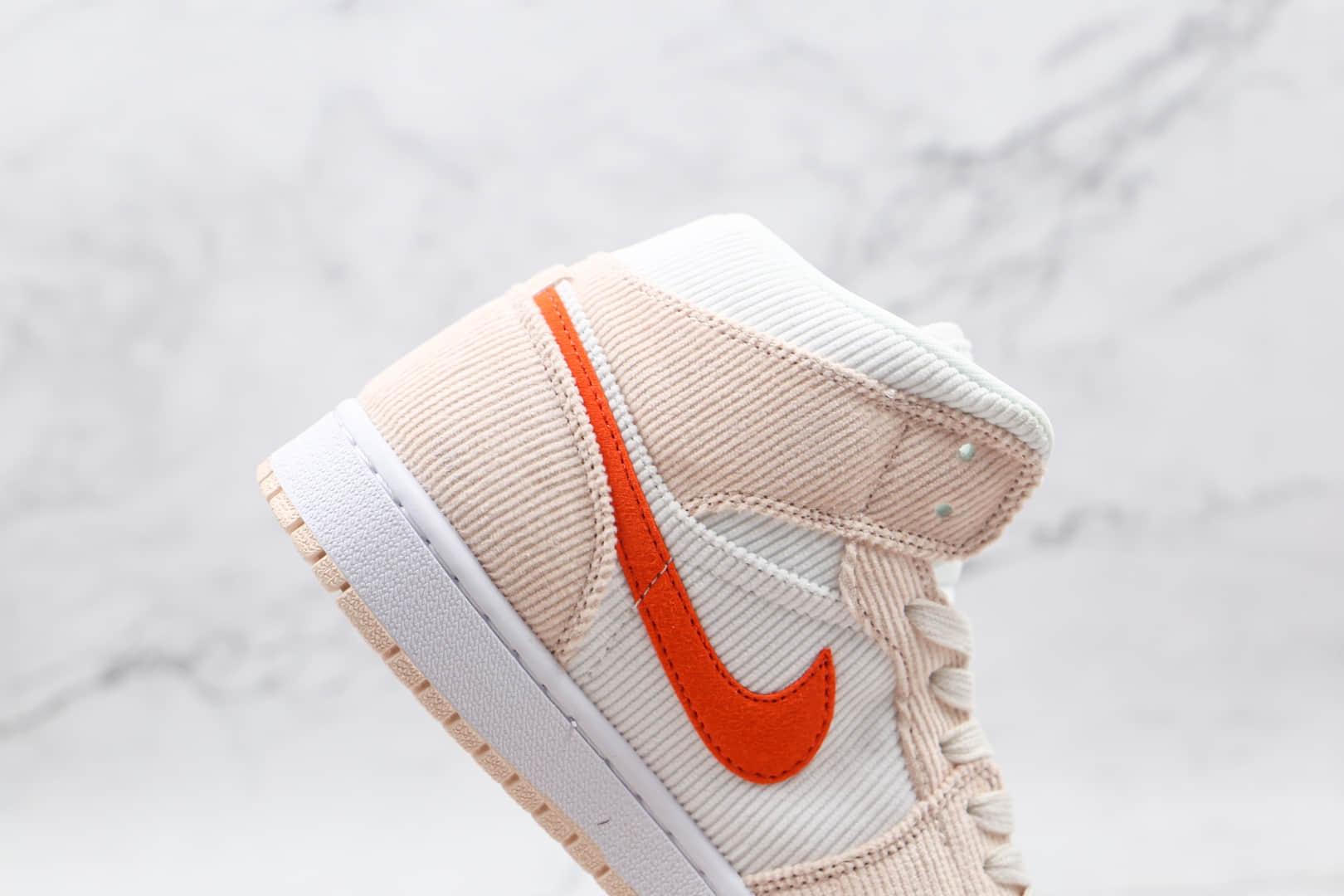 耐克Nike Air Jordan 1 Zoom CMFT纯原版本中帮AJ1米白橙色灯芯绒款板鞋原楦头纸板打造 货号:DA8009-108