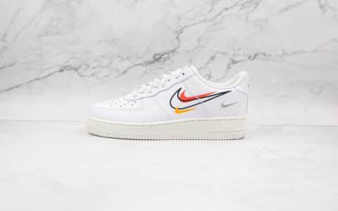 耐克Nike AIR FMRCE 1 Multi Swoosh纯原版本低帮空军一号四钩白黑黄橙灰板鞋内置气垫 货号:DM9096-100