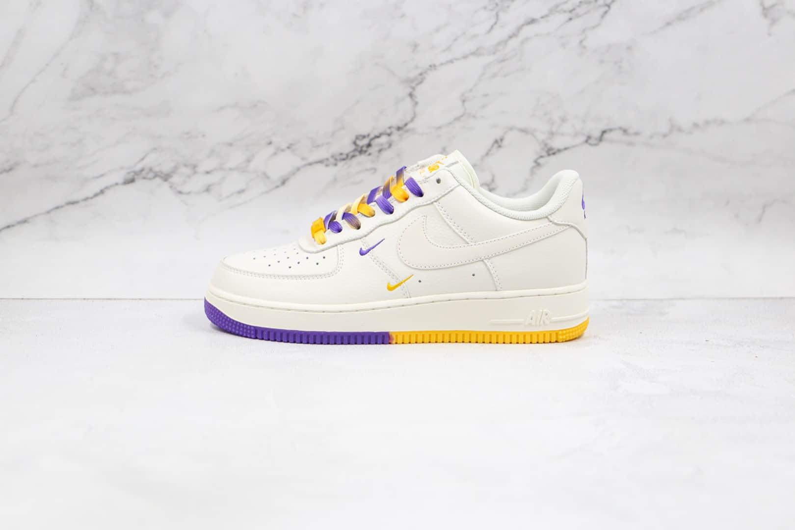 耐克Nike Air Force 1 Low 07纯原版本低帮空军一号紫金湖人洛杉矶城市限定白黄紫色板鞋原盒原标 货号:CT1989-106