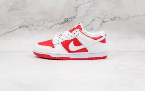 """耐克Nike Dunk Low """"University Red""""纯原版本低帮Dunk白红色内置气垫 货号:CW1590-600"""