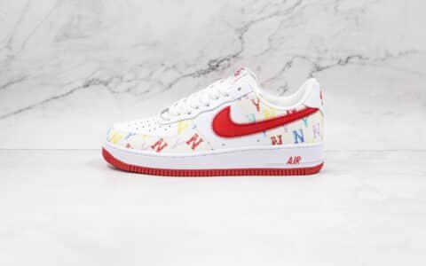 纯原版本耐克低帮空军一号白红色彩色洋基队帆布板鞋出货