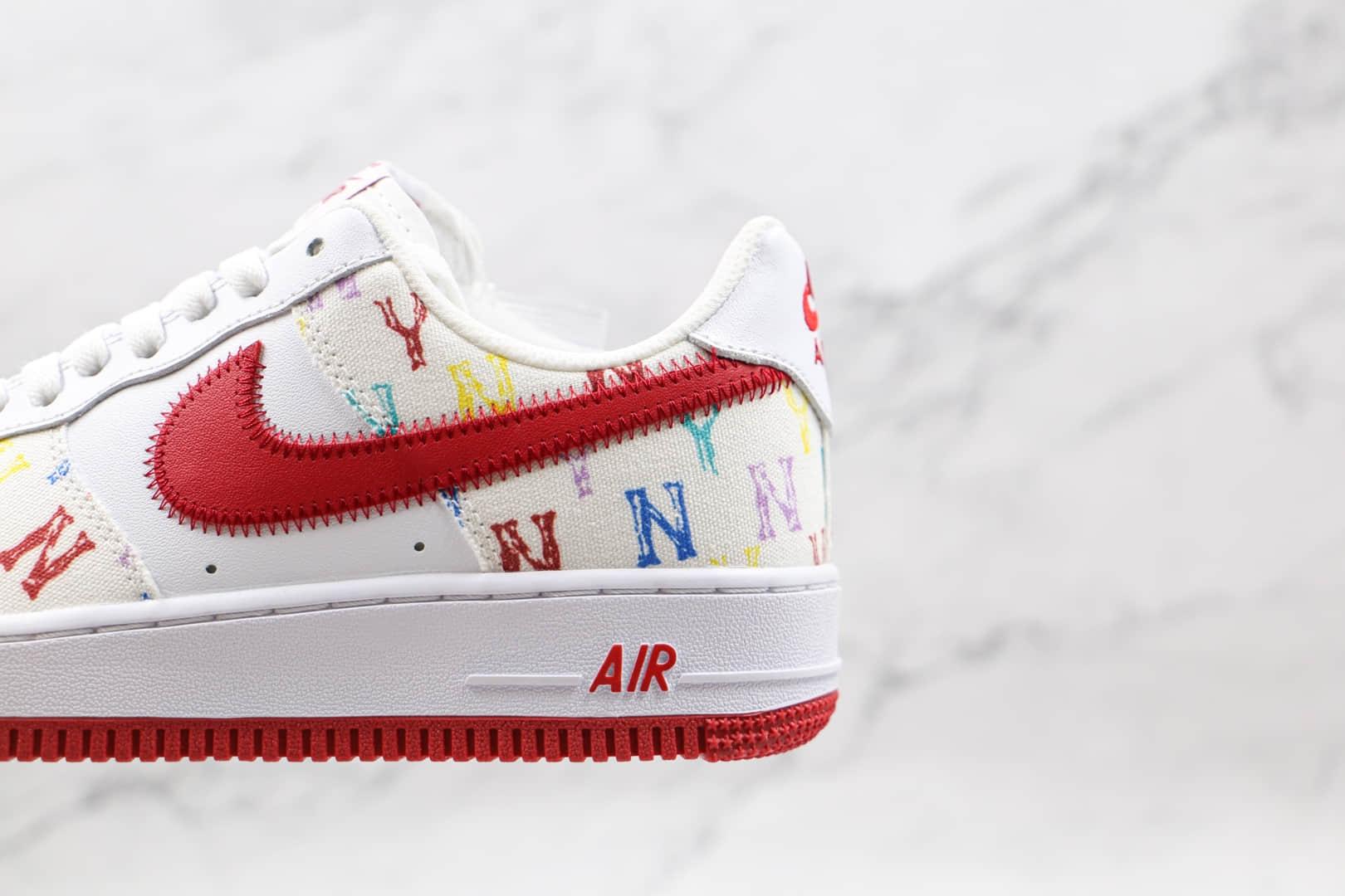 耐克Nike Air Force 1'07纯原版本低帮空军一号白红色彩色NY logo板鞋内置气垫 货号:315122-443