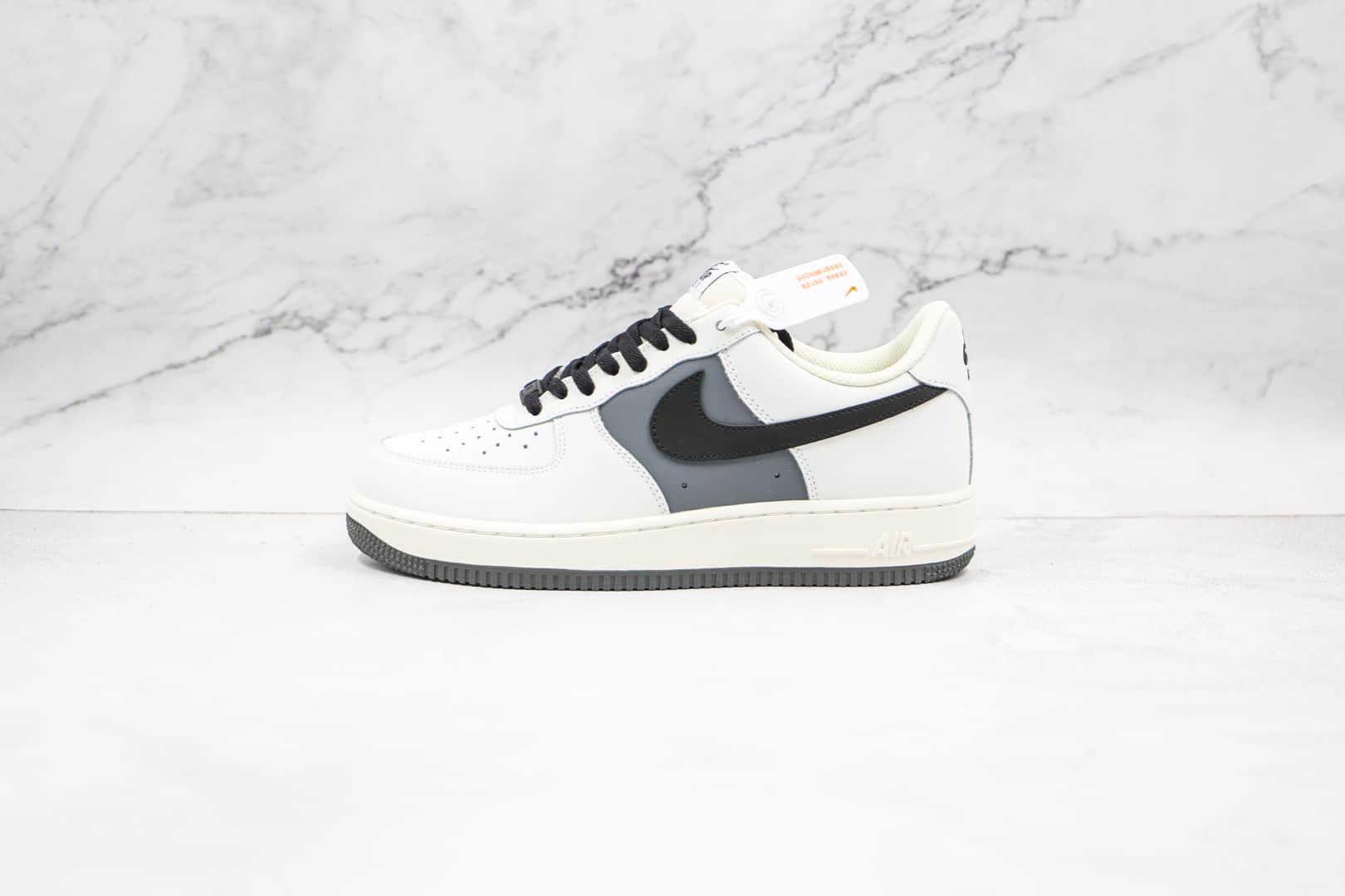 耐克Nike AIR FORCE 1纯原版本低帮空军一号灰白拼接黑色钩板鞋内置气垫 货号:CL2026-113