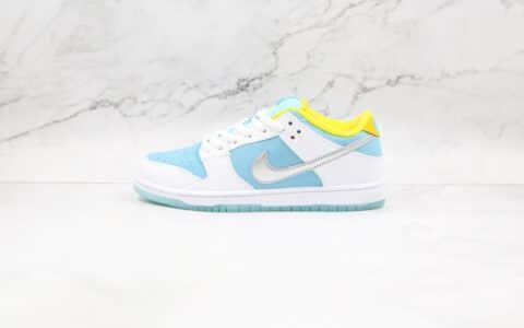 纯原版本耐克低帮SB DUNK白蓝色网格FTC联名款板鞋出货
