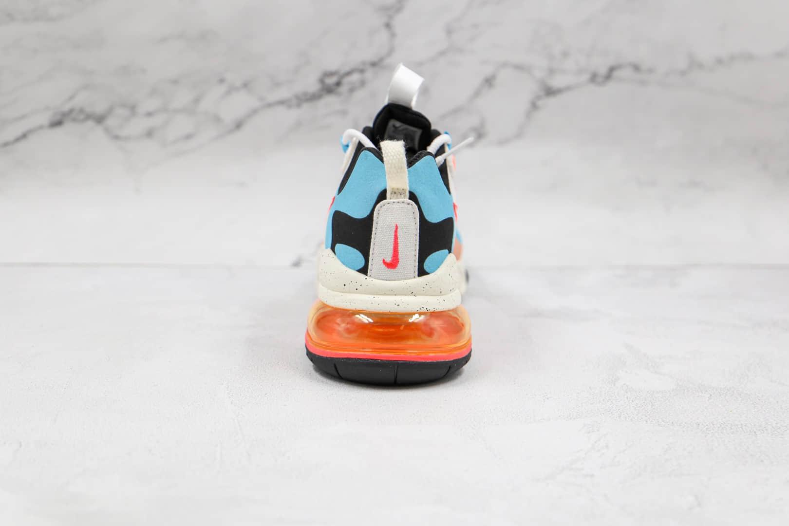 耐克Nike Air Max 270 React纯原版本白蓝红黑色Max270彩虹拼色气垫鞋原厂真小潘气垫 货号:DD8498-161