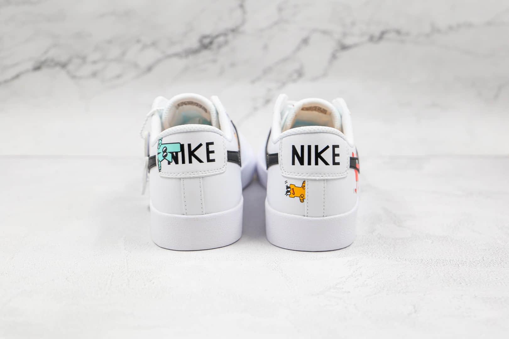 耐克NIKE Blazer LOW 77 VNTG纯原版本低帮开拓者白黑色卡通板鞋原盒原标 货号:DJ5201-106