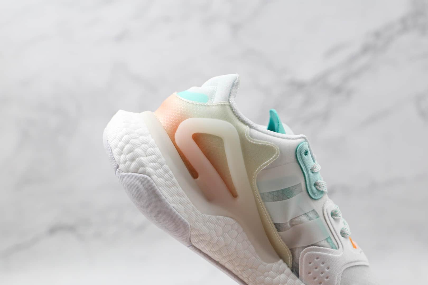 阿迪达斯Adidas Day Jogger 2021 Boost纯原版本夜行者二代网面白绿粉渐变色爆米花跑鞋原盒原标 货号:GW4910