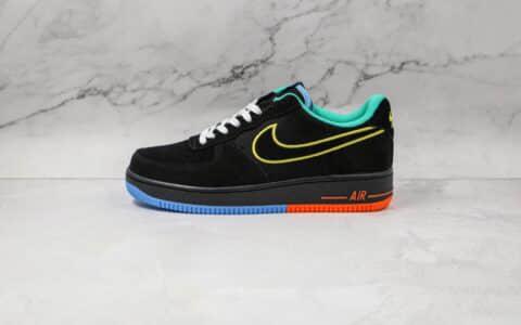 耐克Nike Air Force 1 Low纯原版本低帮空军一号世界和平主题黑绿色红蓝底板鞋原楦头纸板打造 货号:DM9051-001