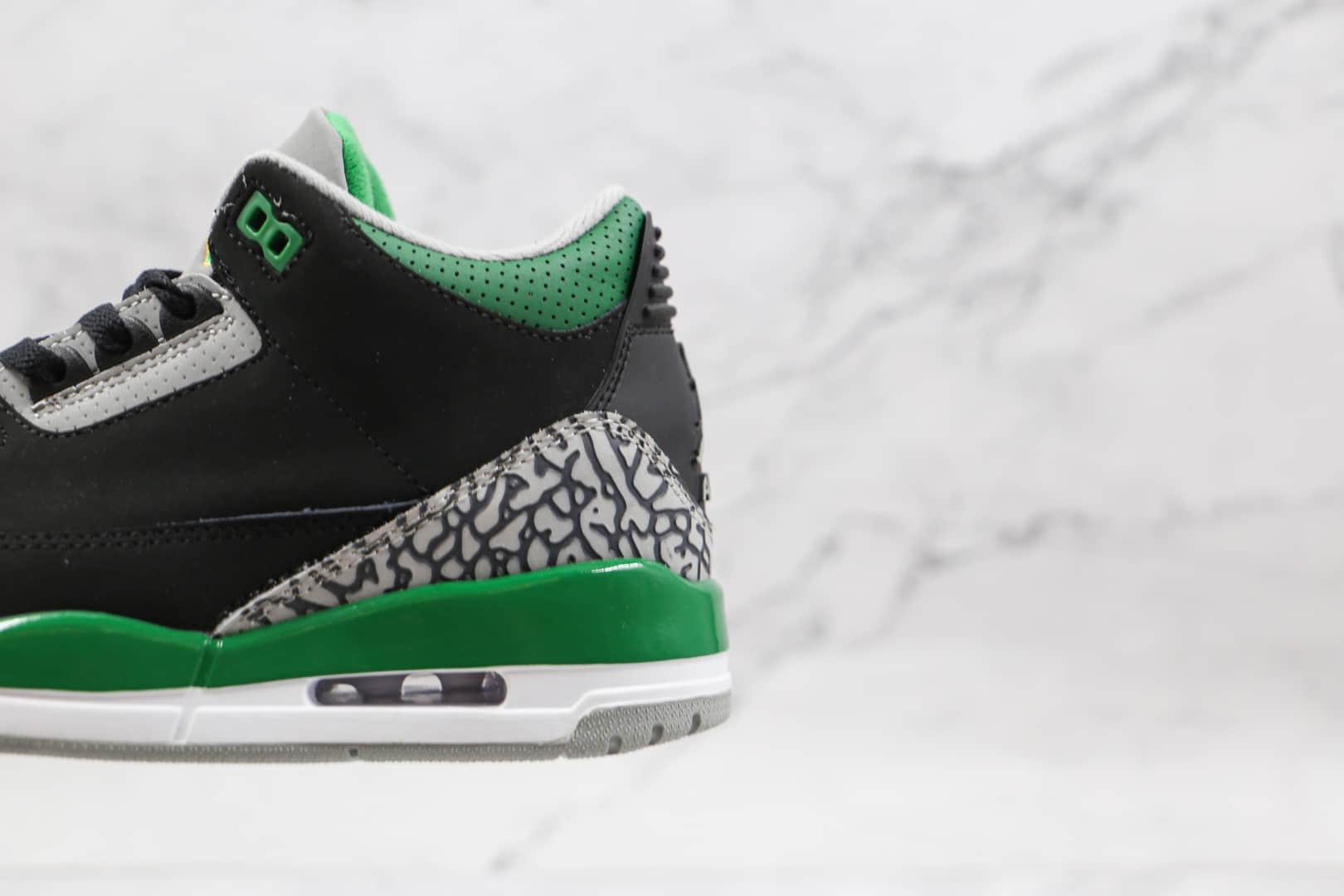 乔丹Air Jordan 3 Pine Green纯原版本高仿AJ3爆裂纹黑绿篮球鞋原档案数据开发 货号:CT8532-030