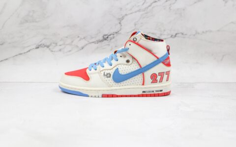 耐克Nike SB Dunk High x Ishod Wair x Magnus Walker三方联名款纯原版本高帮SB DUNK白蓝红色保时捷911 T277板鞋原档案数据开发 货号:DH7683-100