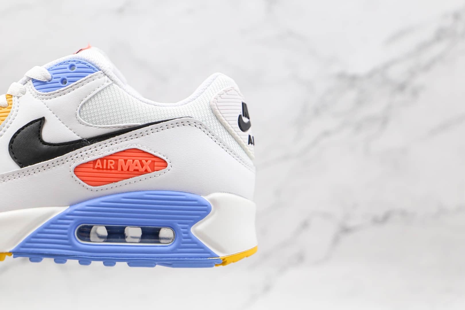 耐克Nike Air Max 90纯原版本白蓝粉黄色火星Max90气垫鞋原楦头纸板打造 货号:CZ3950-100