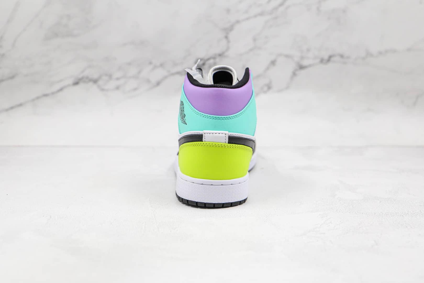 乔丹Air Jordan 1 Mid纯原版本中帮AJ1黑紫绿彩色拼接板鞋原楦头纸板打造 货号:554724-175