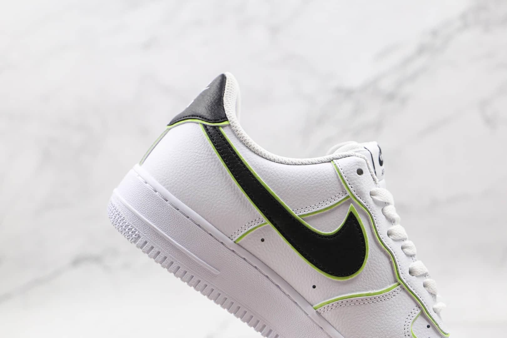 耐克Nike AIR FMRCE 1纯原版本低帮空军一号白黑绿色板鞋内置气垫 货号:CW2288-304
