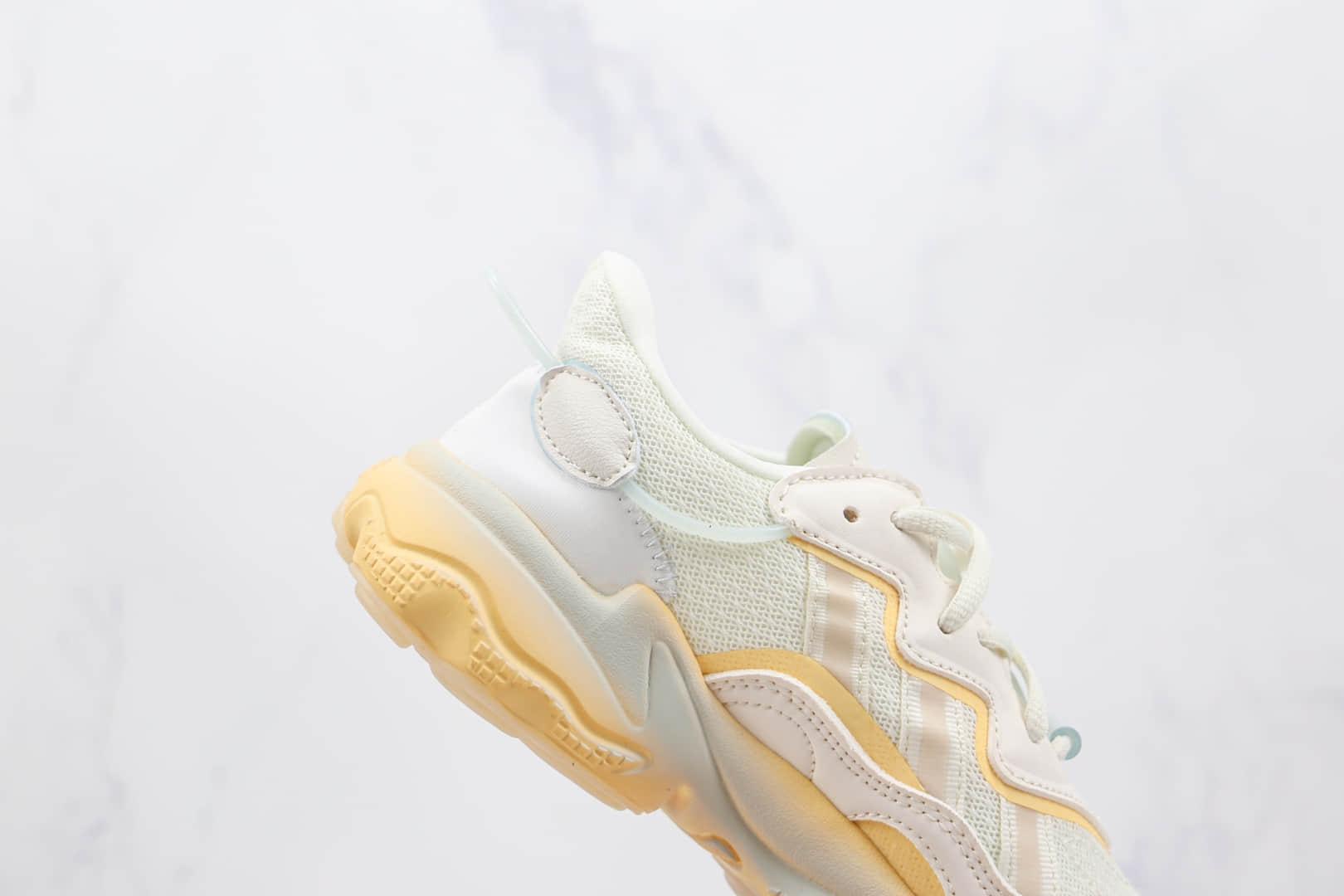 阿迪达斯Adidas OZWEEGO 2021纯原版本网面米白黄半透明水管老爹鞋原档案数据开发 货号:GX2727