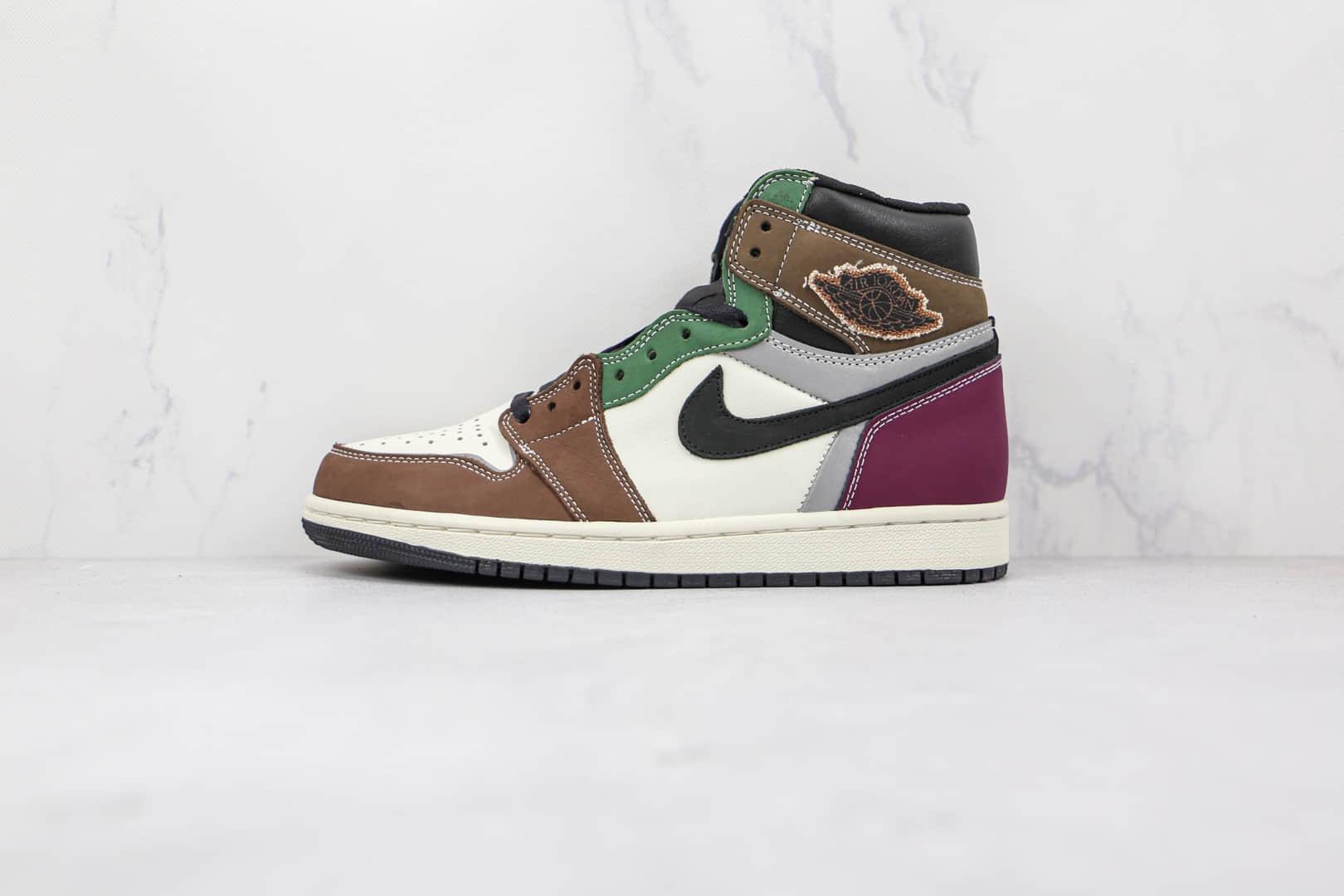 乔丹Air Jordan 1 High OG Hand Crafted纯原版本高帮AJ1彩色拼接白棕黑紫绿3M反光板鞋原档案数据开发 货号:DH3097-001