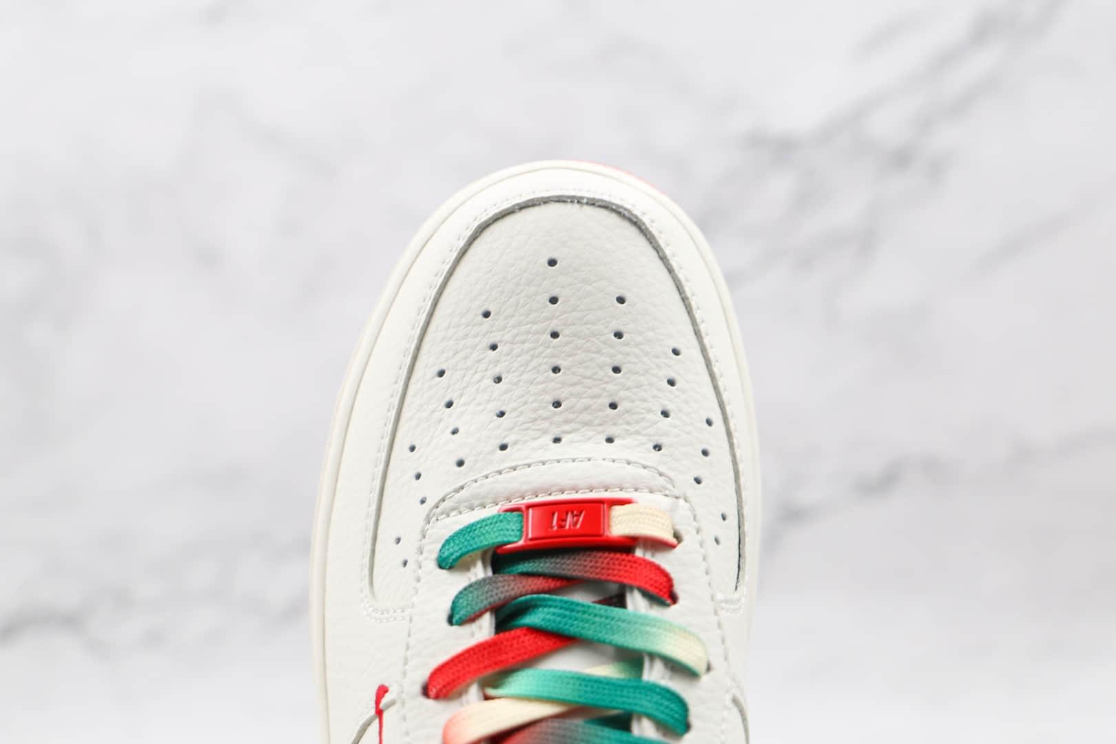 耐克Nike Air Force 1 Low '07纯原版本低帮空军一号白橙绿色双钩板鞋内置气垫 货号:BU6638-180