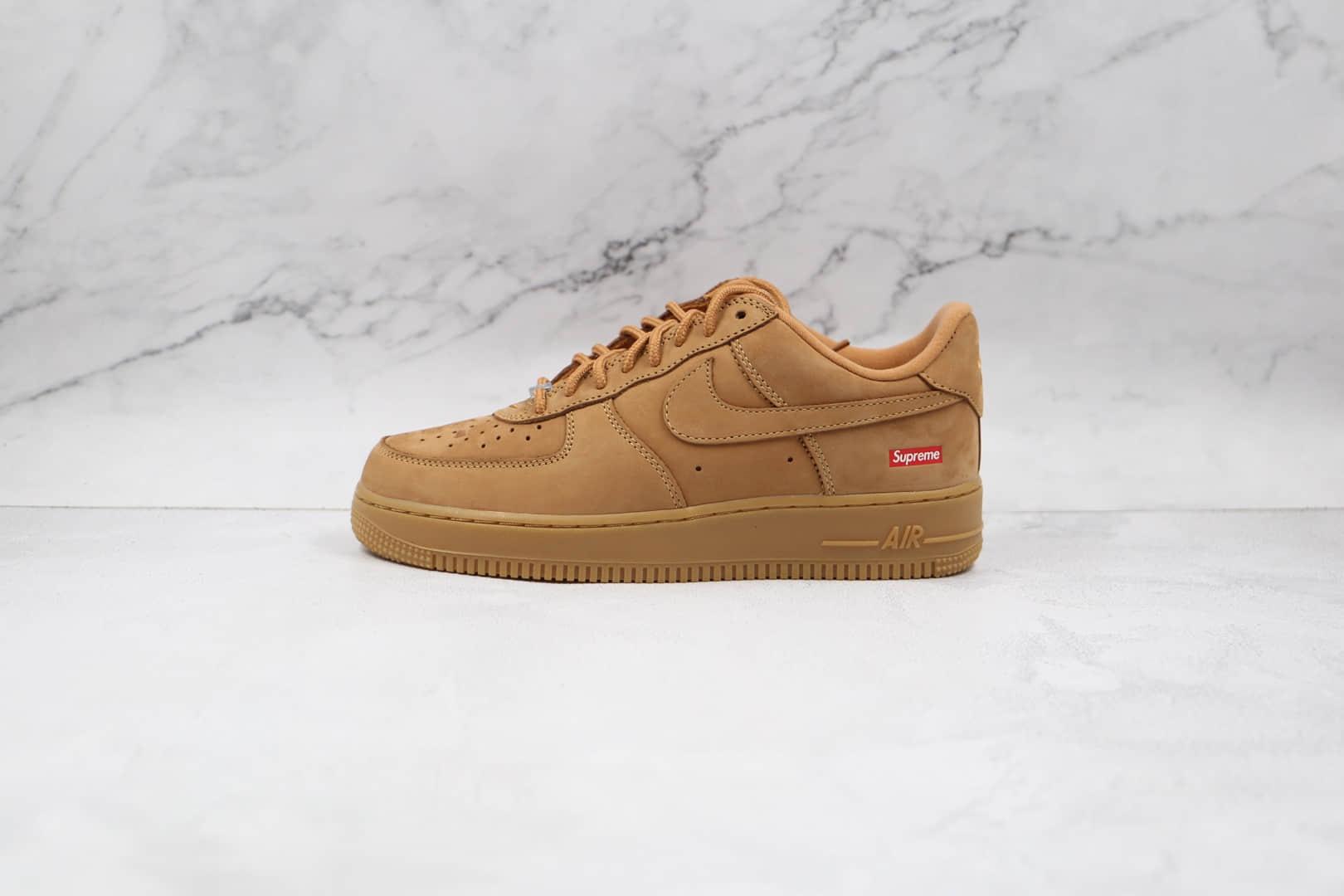耐克Nike Air Force 1 Low Flax x Supreme联名款纯原版本低帮空军一号小麦色板鞋内置气垫 货号:DN1555-200