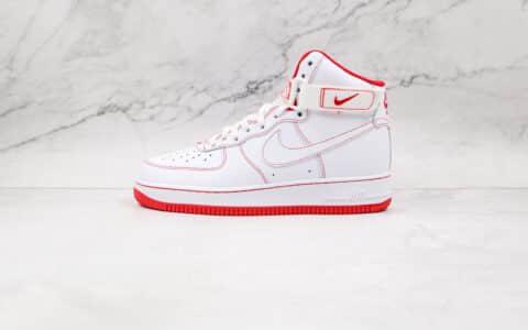 耐克Nike Air Force 1 High 07纯原版本高帮空军一号白红色板鞋内置气垫 货号:CV1753-100