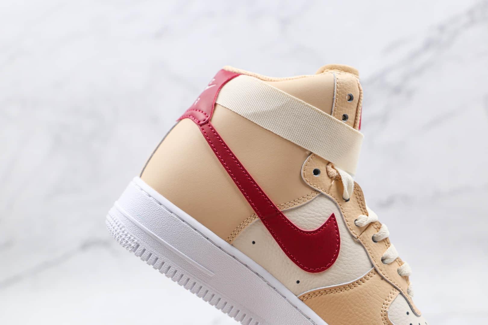 耐克Nike Air Force 1 High'07纯原版本高帮空军一号米白红色板鞋原盒原标 货号:334031-200