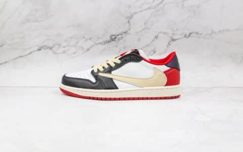 乔丹Air Jordan 1 x Fragment x Travis Scott联名款公司级版本低帮AJ1白红色倒勾板鞋原档案数据开发 货号:CQ4278-088