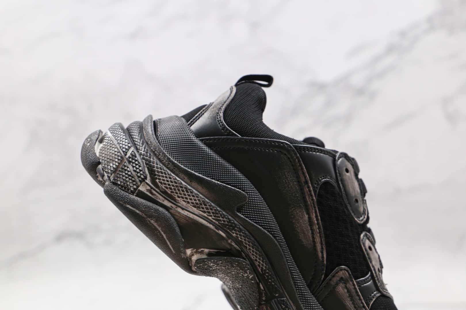巴黎世家Balenciaga Triple S纯原版本初代做旧黑色复古老爹鞋原盒原标原装组合大底