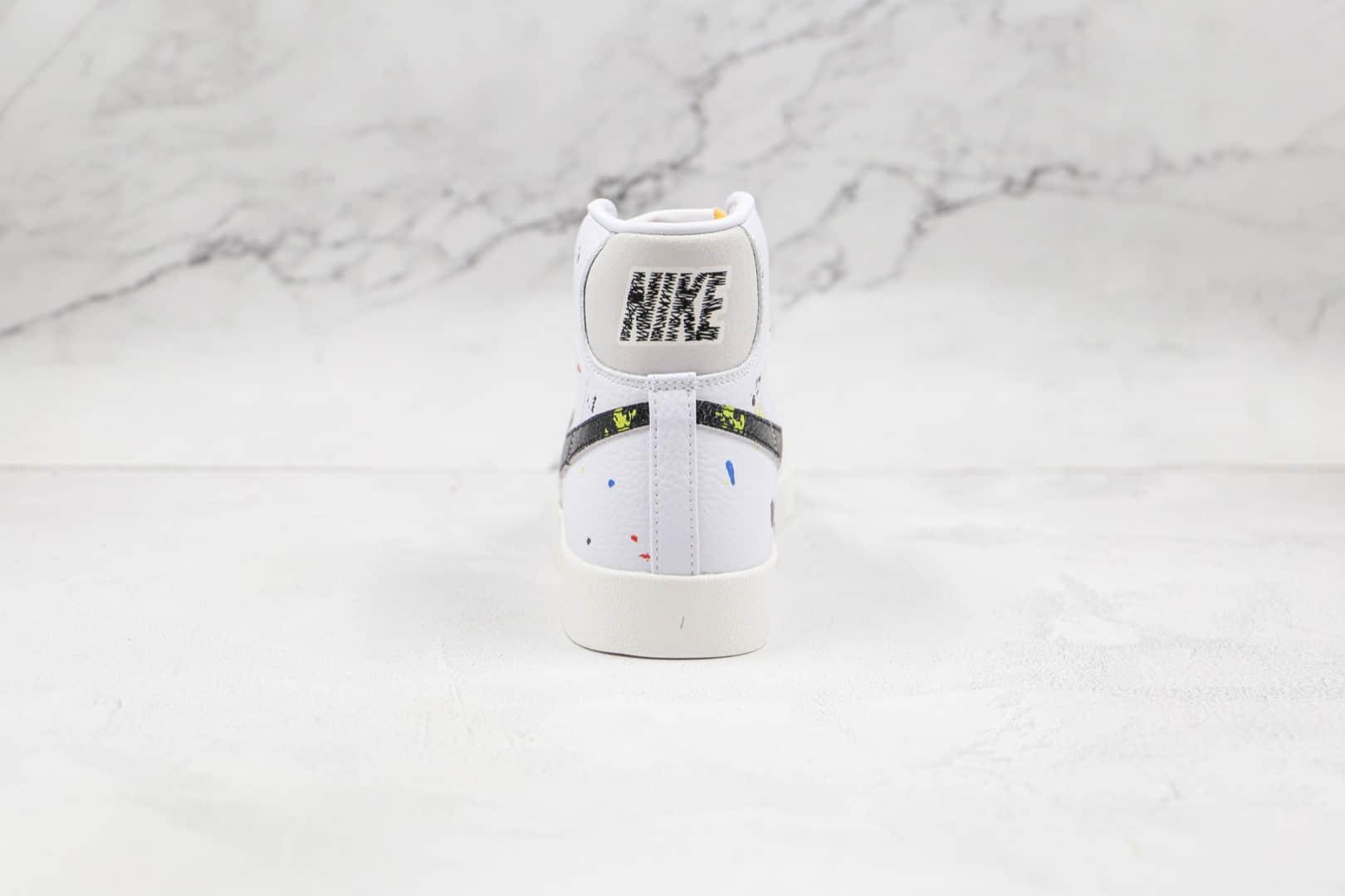 耐克NIKE Blazer MID 77 VNTG纯原版本高帮开拓者白黑色泼墨板鞋原盒原标 货号:DC7331-100