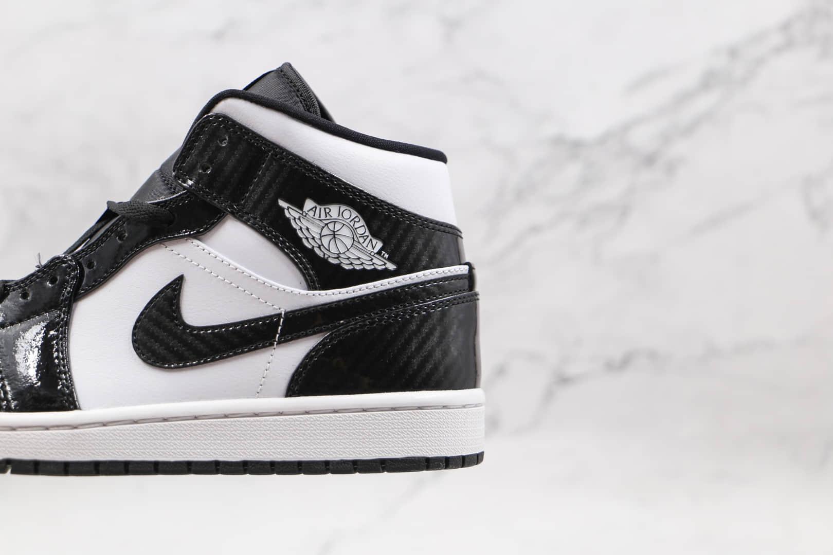 乔丹Air Jordan 1 Mid纯原版本中帮AJ1黑白漆皮篮球鞋原楦头纸板打造 货号:DD1649-001