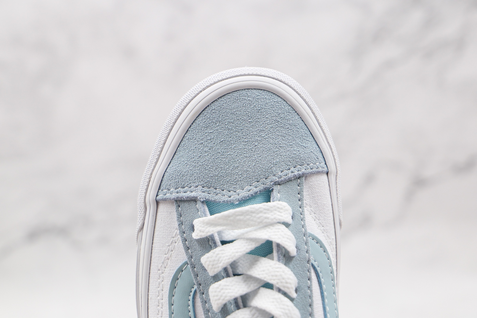 万斯Vans Old Skool公司级版本低帮帆布鞋侧边条纹白蓝色工艺硫化一比一