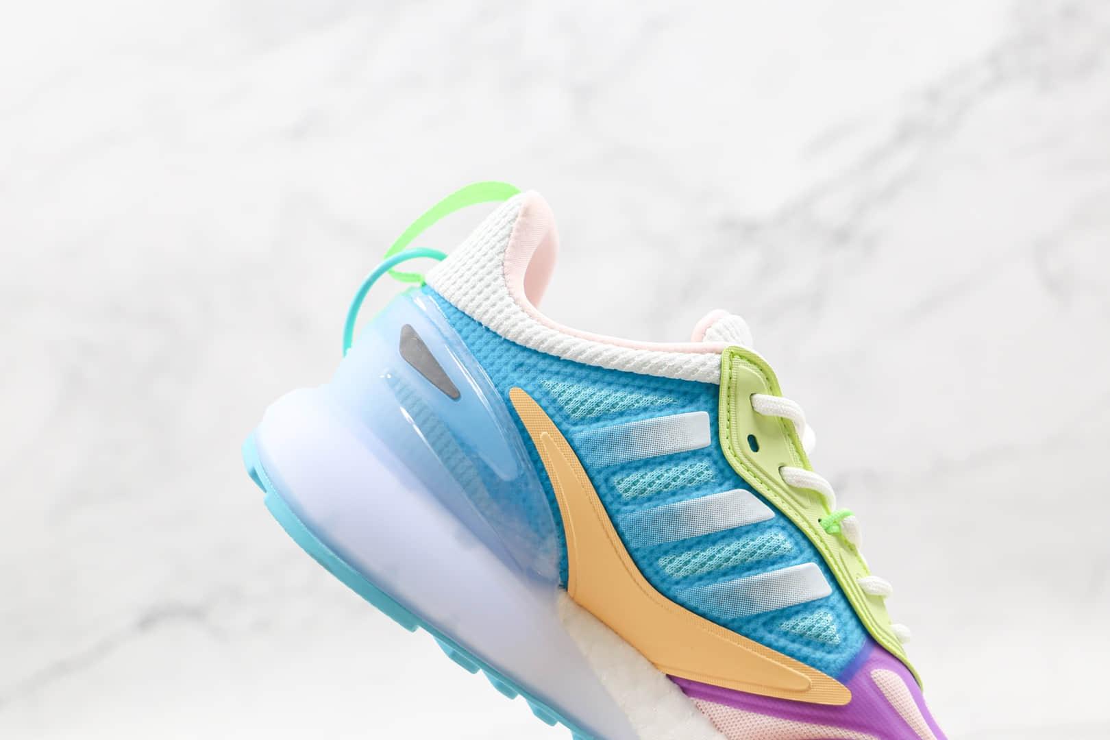 阿迪达斯Adidas Originals ZX 2K Boost 2.0纯原版本三叶草ZX 2K白蓝粉黄绿色彩色拼接爆米花跑鞋原档案数据开发 货号:GZ7502