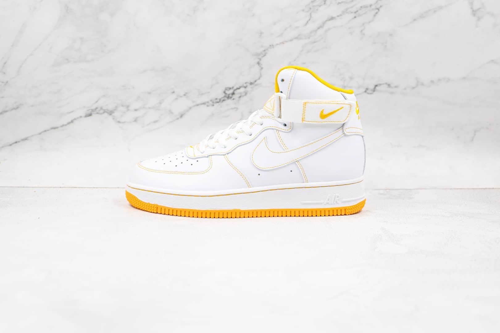 耐克Nike Air Force 1 High'07纯原版本高帮空军一号白黄色缝线板鞋内置气垫原盒原标 货号:CV1753-107