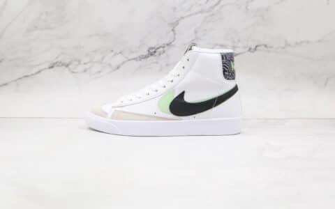 耐克NIKE Blazer MID 77 VNTG纯原版本高帮开拓者白黑绿色双钩板鞋原楦头纸板打造 货号:DD1847-100