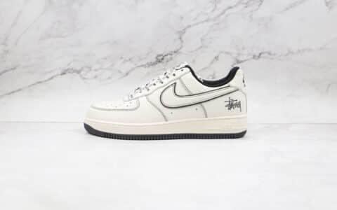 耐克Nike Air Force 1 Low纯原版本低帮空军一号白黑色缝线斯图西联名款板鞋内置气垫 货号:UN1635-702