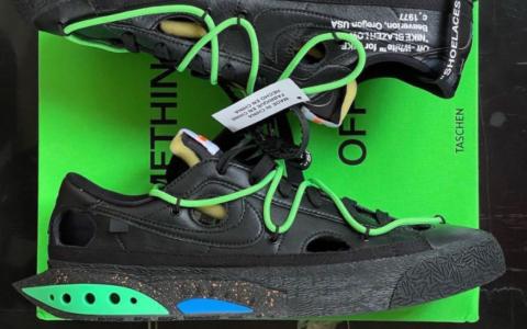 全新OW x Nike Blazer Low黑绿配色最新实物曝光!潮人必备!