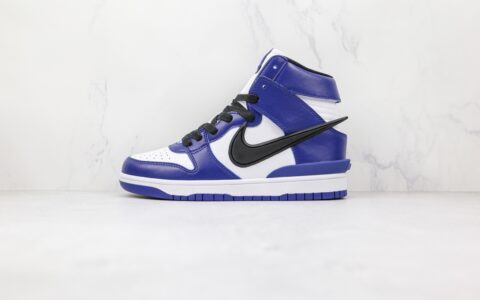 耐克Nike Dunk High x AMBUSH埋伏联名款纯原版本高帮DUNK蓝色板鞋原盒原标原鞋开模一比一打造 货号:CU7544-400