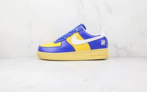 纯原版本耐克Undefeated联名款低帮空军一号蓝黄色板鞋出货