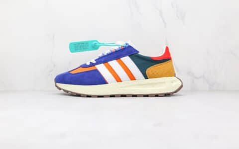阿迪达斯Adidas RETROPY E5纯原版本三叶草厚底蓝橙色爆米花跑鞋原楦头纸板打造 货号:GW6059