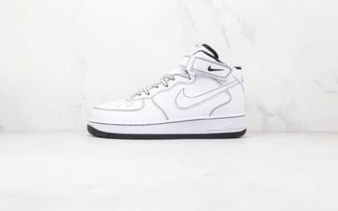 耐克Nike Air Force 1 Mid纯原版本中帮空军一号二次元黑白缝线板鞋内置气垫 货号:CV1724-104