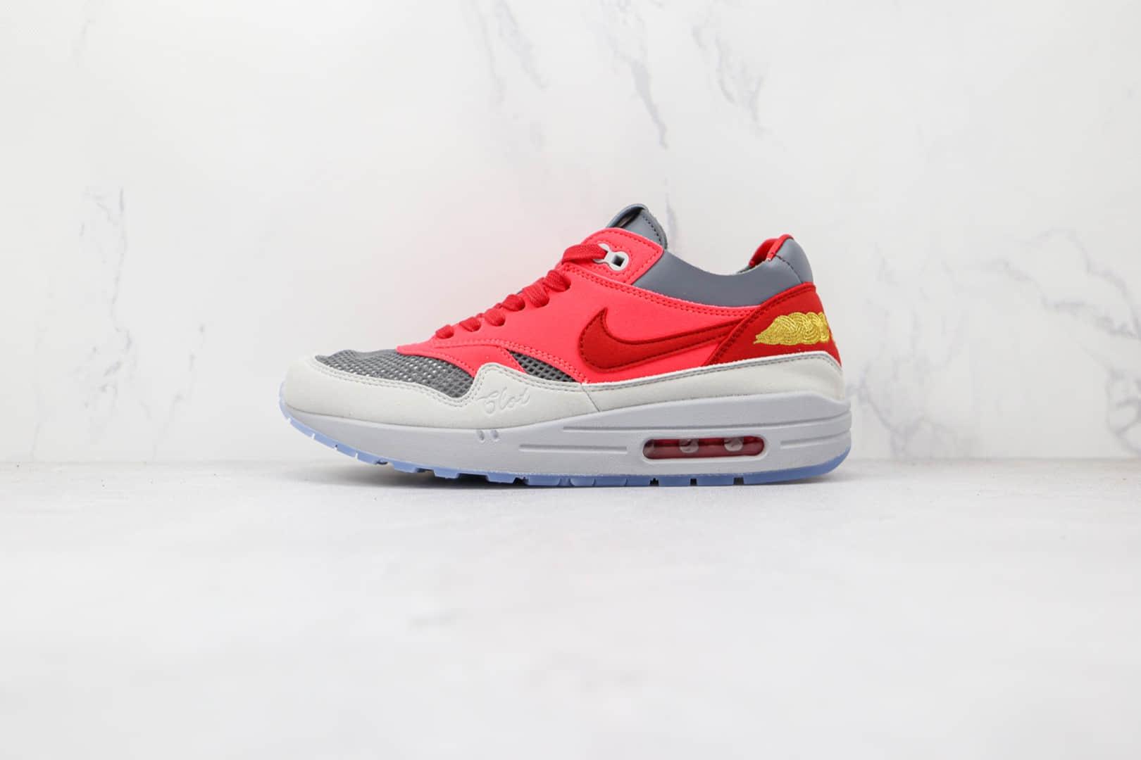 耐克Nike Air Max 1 Kiss of Death x CLOT联名款纯原版本死亡之吻3.0太阳灰红运动鞋原楦头纸板打造 货号:DD1870-600