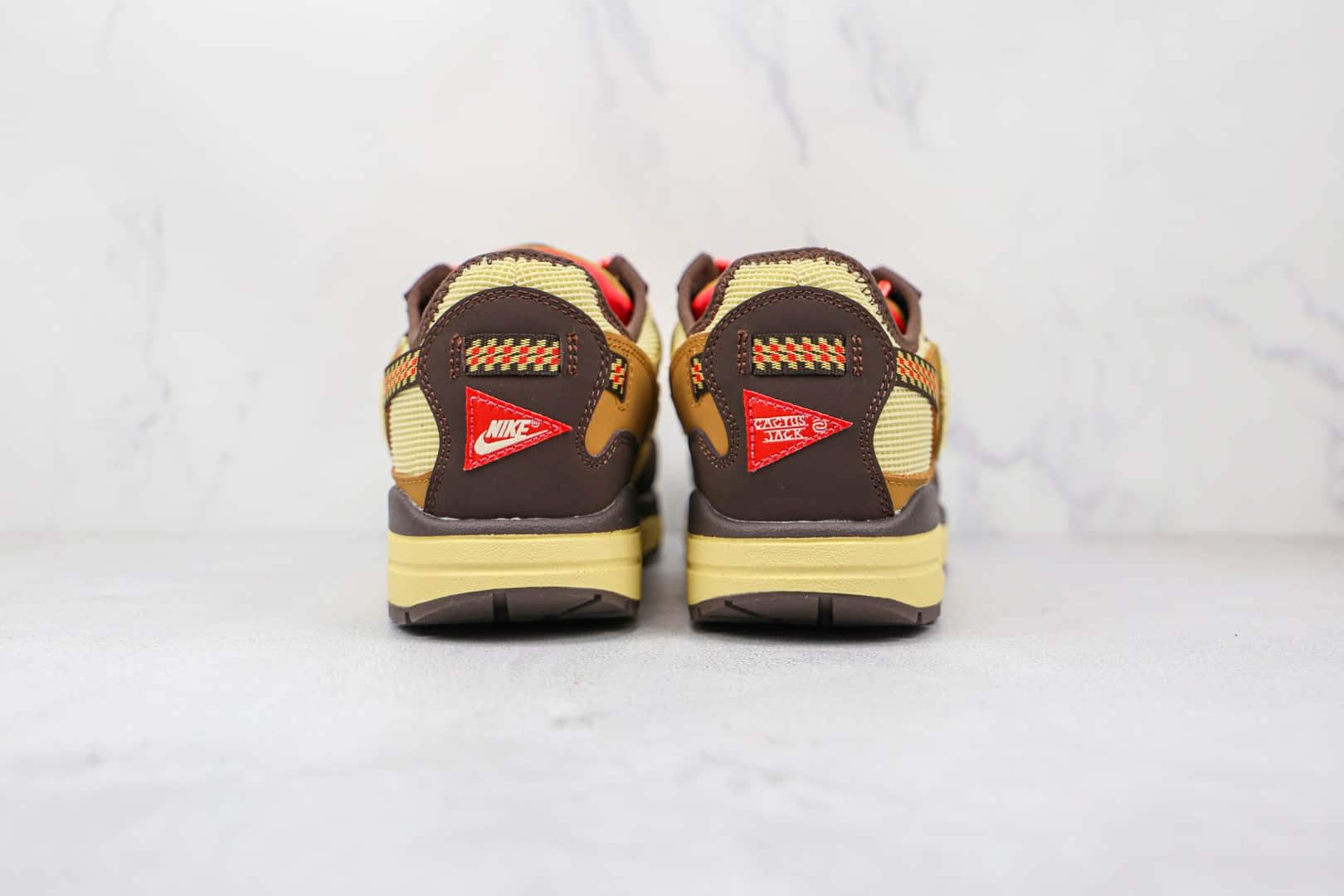 耐克Nike Air Max 1 Cactus Jack x Travis Scott联名款纯原版本倒勾米褐色气垫鞋原档案数据开发 货号:DO9392-200