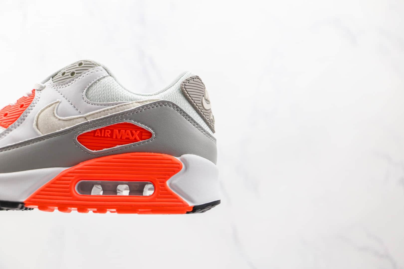 耐克Nike Air Max 90纯原版本白灰红色半掌气垫Max90气垫鞋原档案数据开发 货号:CT4352-103