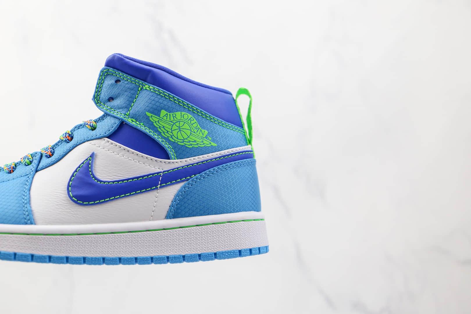 乔丹Air Jordan 1 Mid GS纯原版本中帮AJ1白蓝绿色篮球鞋原档案数据开发 货号:DA8010-400