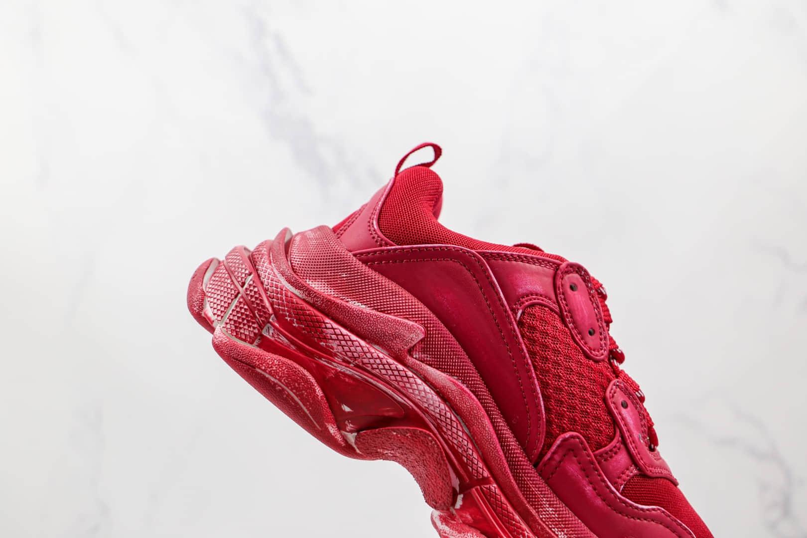 巴黎世家Balenciaga Triple S纯原版本初代做旧擦色红色老爹鞋原档案数据开发