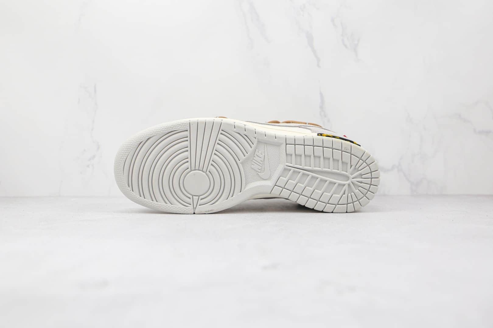 耐克Nike Dunk Low 50 x Off-White联名款纯原版本低帮DUNK麂皮绒面灰白褐色板鞋原档案数据开发 货号:DM1602-121