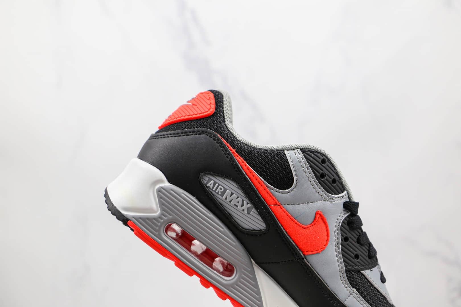 耐克Nike Air Max 90纯原版本黑灰红色Max90气垫鞋原档案数据开发 货号:CZ4222-001