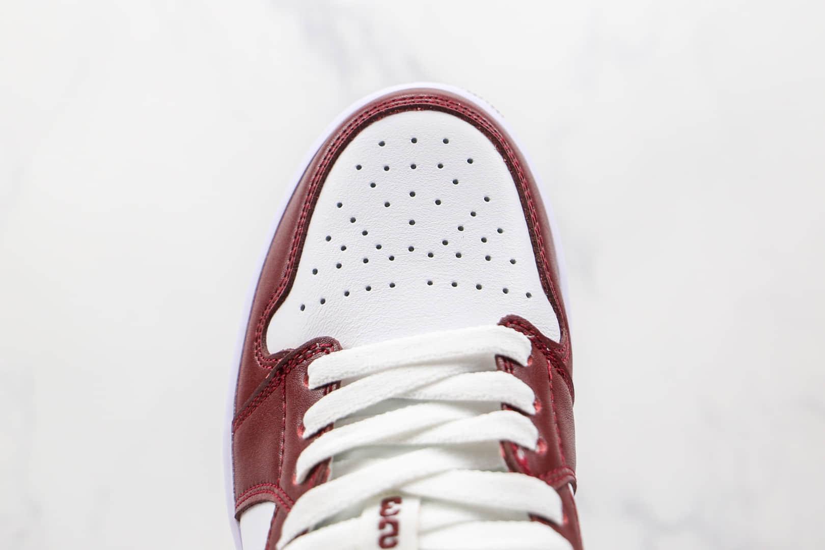 乔丹Air Jordan 1 Low Team Red纯原版本低帮AJ1酒红白色板鞋原档案数据开发 货号:DC0774-116