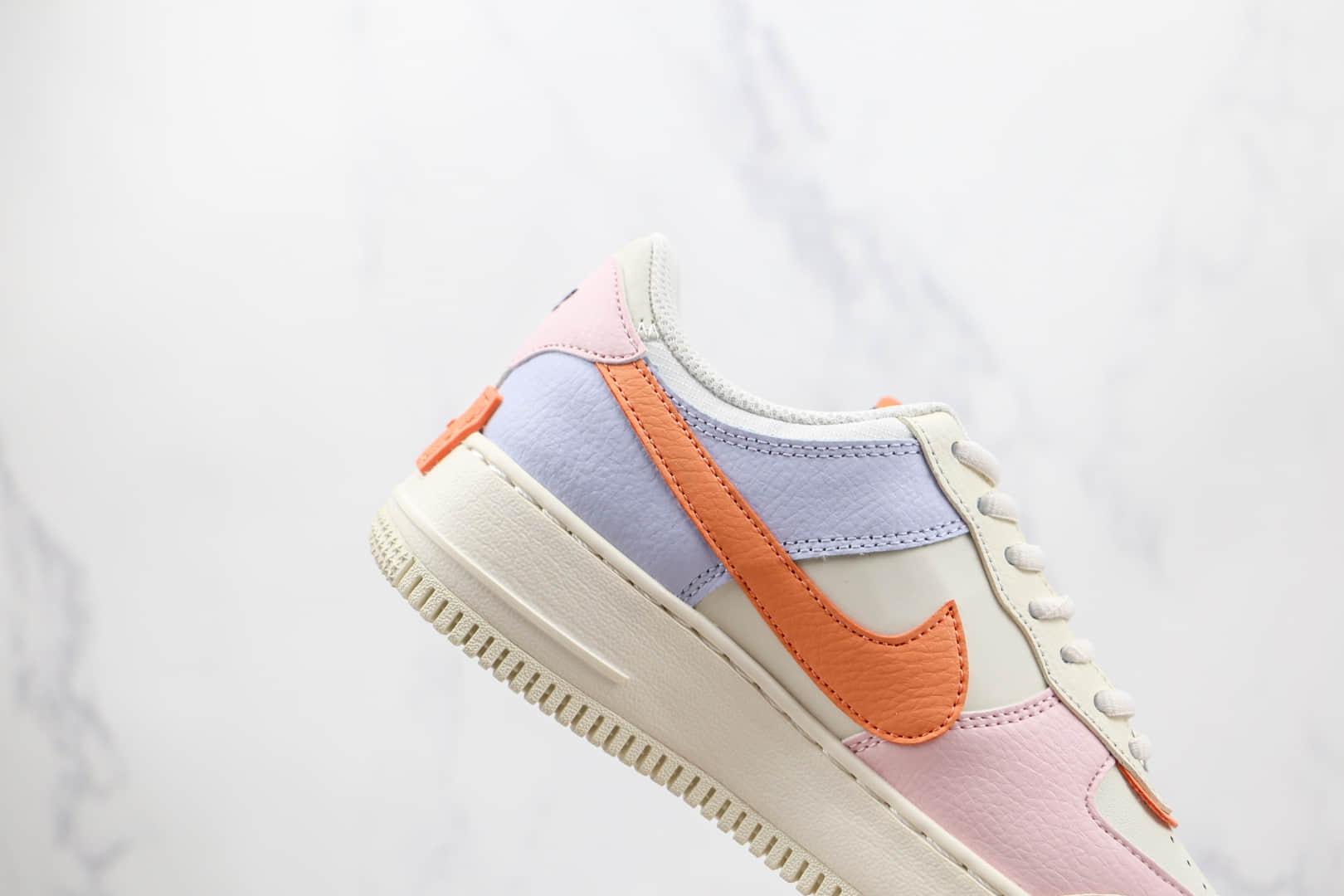 耐克Nike AIR FMRCE 1 SHADOW纯原版本低帮空军一号马卡龙双钩白粉蓝色板鞋内置气垫 货号:CI0919-111