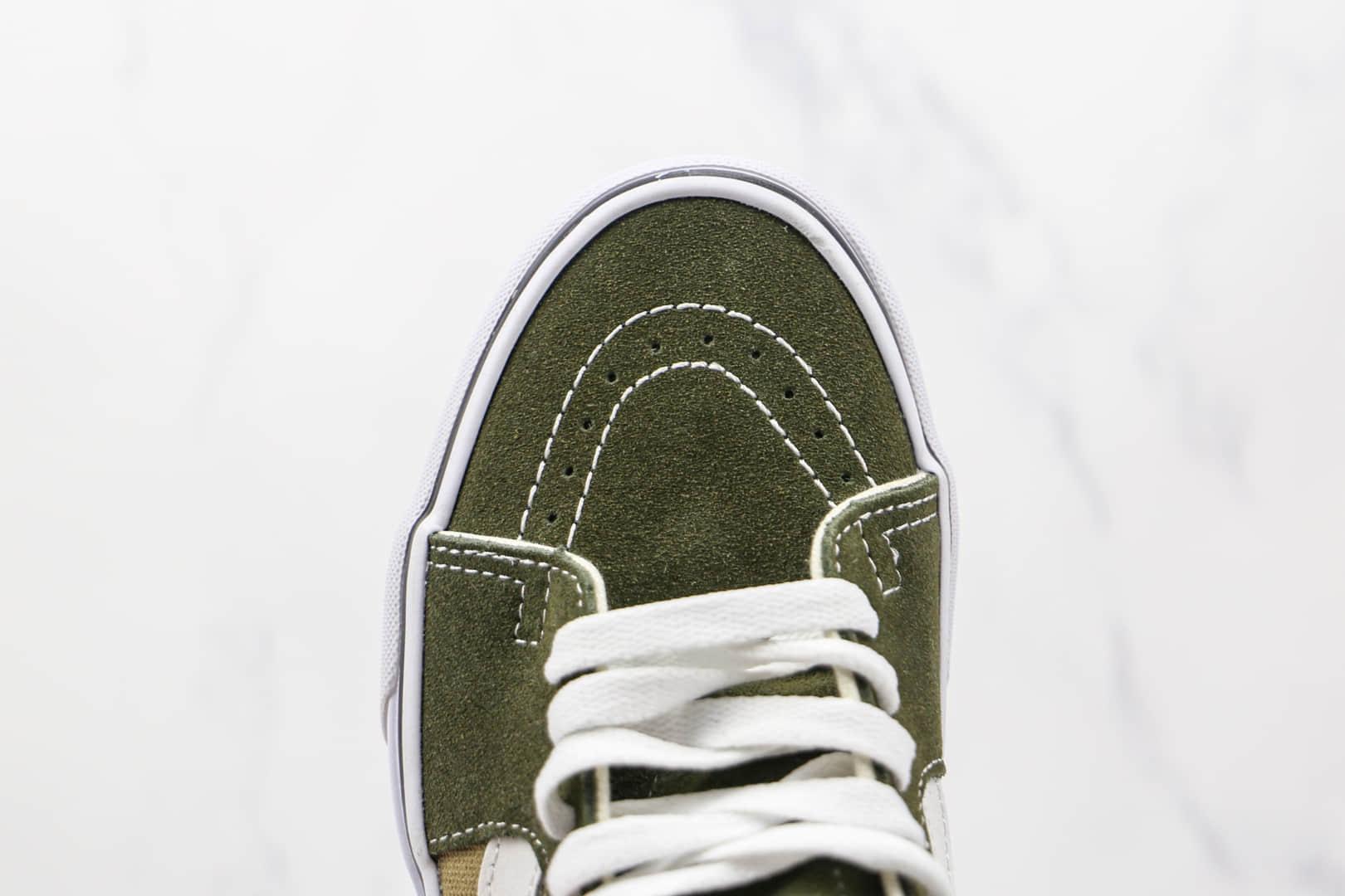 万斯Vans Sk8-Mid x JJJJound联名款公司级版本高帮黑绿拼接硫化板鞋原楦头纸板打造
