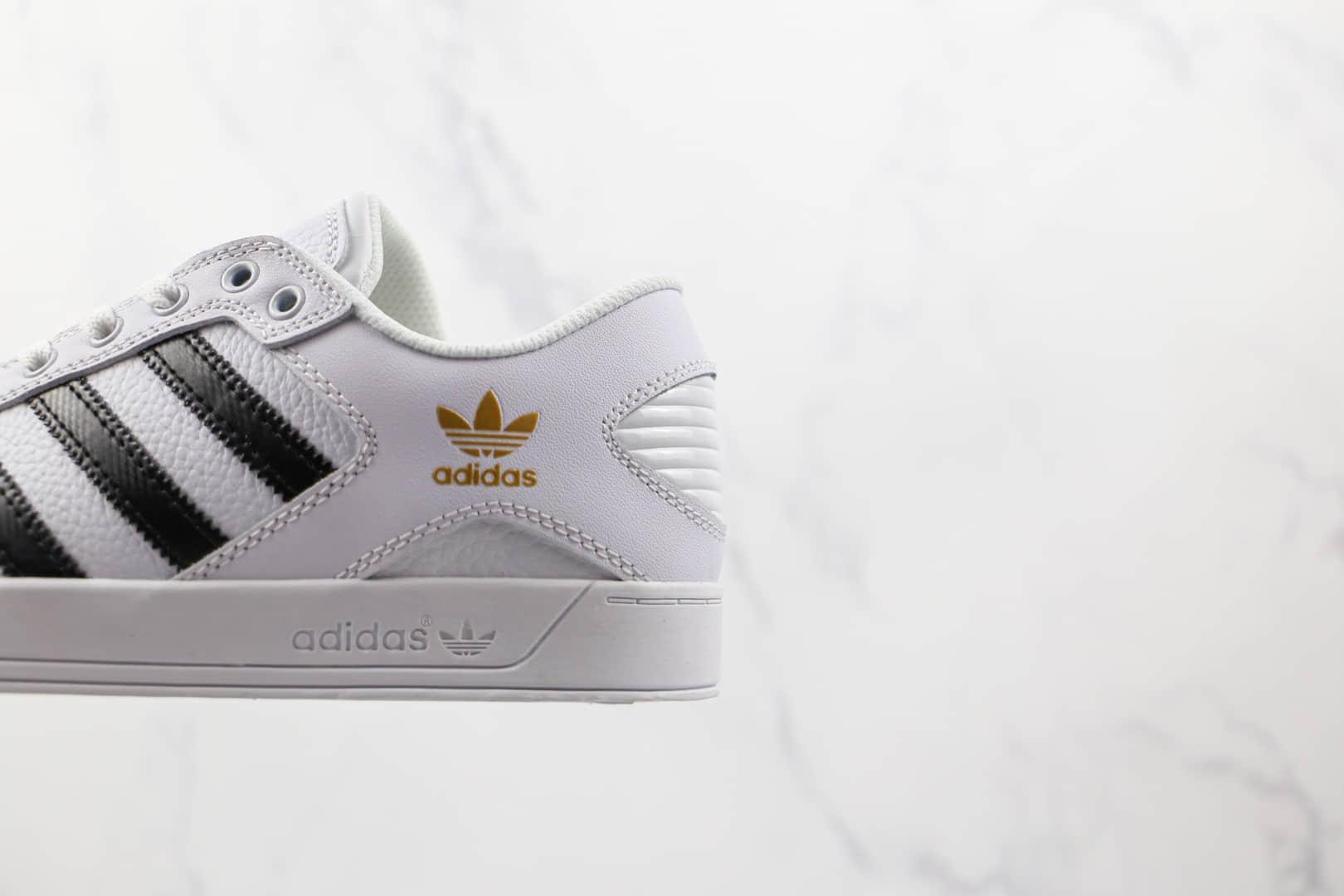 阿迪达斯Adidas Hardcourt Low公司级版本三叶草白黑色板鞋原楦头纸板打造 货号:FX0520