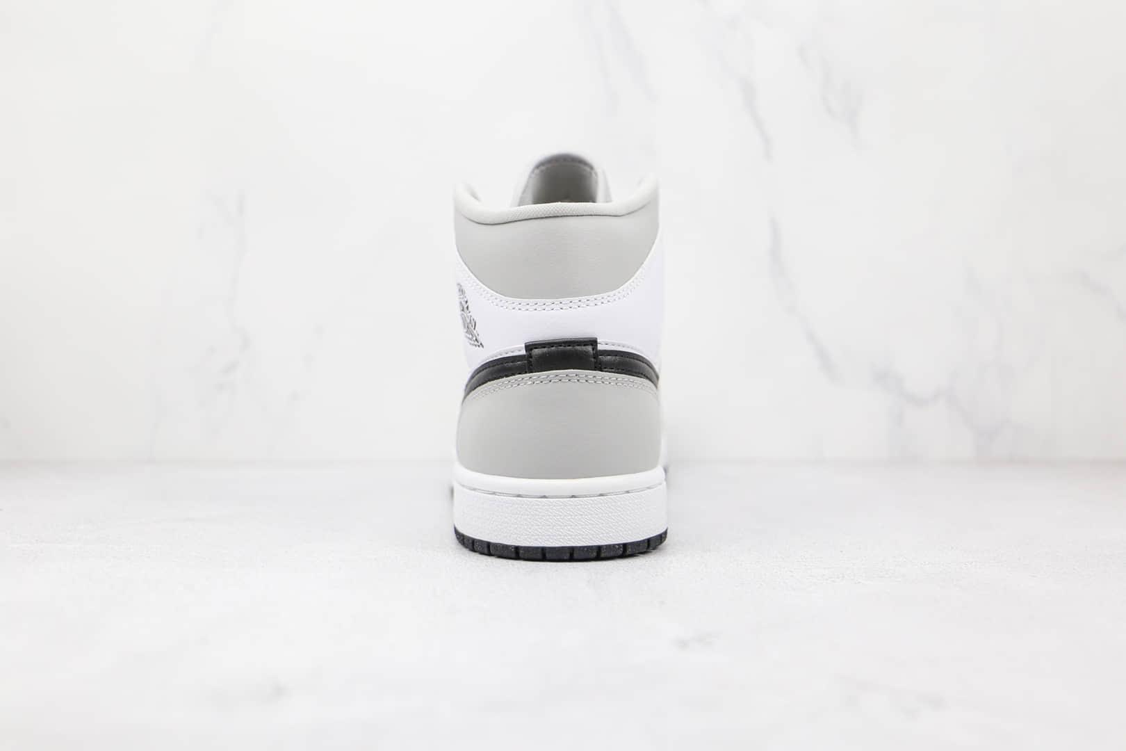 乔丹Air Jordan 1 Mid Light Smoke Grey纯原版本中帮AJ1白灰黑烟灰色板鞋正确后跟定型 货号:BQ6472-015